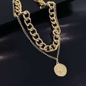 ボリューム チェーンチョーカー レディース 韓国 ファッション アクセサリー ゴールド シルバー チェーン 太め ネックレス (ゴールド)