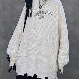 刺繍ニット ロゴニット ニット メンズ 韓国 (ホワイト)