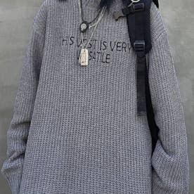 刺繍ニット ロゴニット ニット メンズ 韓国 (グレー)