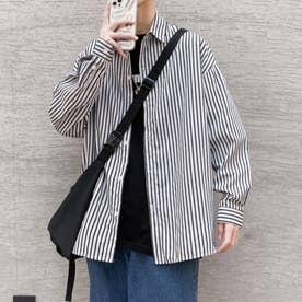 ストライプシャツ シャツ メンズ 韓国 (ブルー)