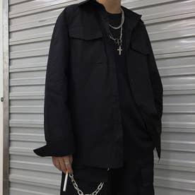 シャツ ロゴ メンズ 韓国 (ブラック)