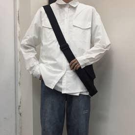 シャツ ロゴ メンズ 韓国 (ホワイト)