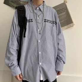 ストライプシャツ ロゴ シャツ メンズ 韓国 (ブルー)