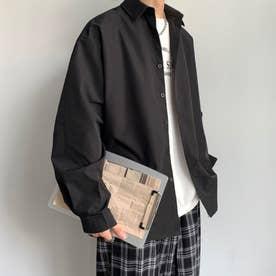 シャツ シンプル メンズ 韓国 (ブラック)
