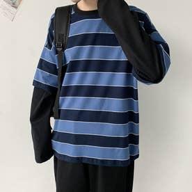 Tシャツ ボーダー メンズ 韓国 (ブルー)