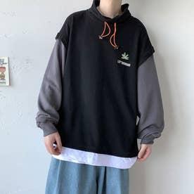 トレーナー Tシャツ ロゴ メンズ 韓国 (ブラック)