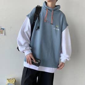 トレーナー Tシャツ ロゴ メンズ 韓国 (ブルー)
