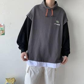 トレーナー Tシャツ ロゴ メンズ 韓国 (グレー)