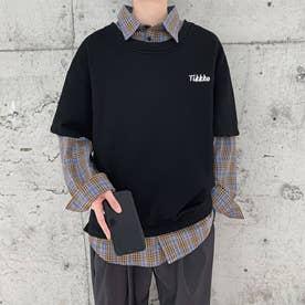 スウェット シャツ ロンT シンプル メンズ 韓国 (ブラック)
