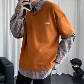 スウェット シャツ ロンT シンプル メンズ 韓国 (ブラウン)