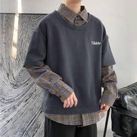 スウェット シャツ ロンT シンプル メンズ 韓国 (グレー)