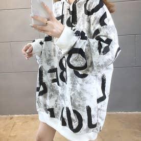 レディース レディースファッション トップス 長袖パーカー 長袖 秋 秋服 ロゴ ビッグパーカー フード フード付き カジュアル (ホワイト)