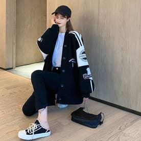 レディース アウター ジャケット 羽織 スウェット ゆったり 大きいサイズ 長袖 秋冬 冬 (ブラック)