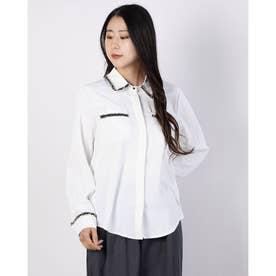 レディース シャツ ブラウス 白シャツ 白ブラウス ホワイト とろみシャツ とろみ 長袖 春 ツイード 春 春物 SS
