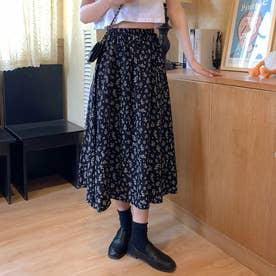 レディース スカートフレアスカート ロングスカート 花柄 花柄スカート フレア マキシスカート マキシ (ブラック)