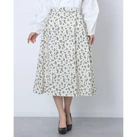 レディース スカートフレアスカート ロングスカート 花柄 花柄スカート フレア マキシスカート マキシ (ホワイト)
