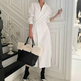 レディース 春夏 SS ワンピース ワンピ シャツ 羽織 シャツワンピース ホワイト 白 長袖 ロングワンピース ロング丈 (ホワイト)