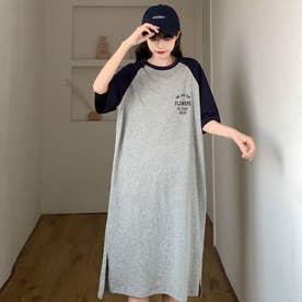 レディース ワンピース ワンピ 春ワンピース 春夏 SS Tシャツ Tシャツワンピース ビッグT ロゴ ルームウェア 部屋着 ゆったり プリント (ネイビー)