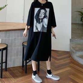 レディース ワンピース ワンピ 春ワンピース 春夏 SS Tシャツ Tシャツワンピース ビッグT ロゴ ルームウェア 部屋着 ゆったり プリント (ブラック)