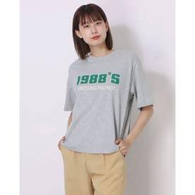 レディース トッブス 春 夏 SS Tシャツ ビッグT ゆったりロゴT ロゴ カジュアル ロゴT 韓国ファッション 韓国 ロンT 半袖 春 夏服 (ライトグレー)