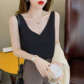 レディース トップス 夏 SS ノースリーブ ノースリ シンプル 無地  韓国ファッション 韓国 キャミソール (ブラック)
