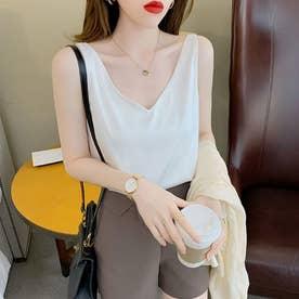 レディース トップス 夏 SS ノースリーブ ノースリ シンプル 無地  韓国ファッション 韓国 キャミソール (ホワイト)