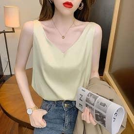 レディース トップス 夏 SS ノースリーブ ノースリ シンプル 無地  韓国ファッション 韓国 キャミソール (ベージュ)