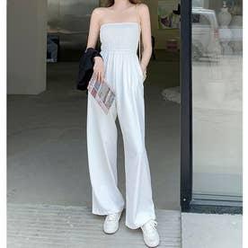 レディース オーバーオール ゆったり 体型カバー カジュアル 無地 シンプル 韓国ファッション 韓国 夏服 ルームウェア サロペット オールインワン (ホワイト)