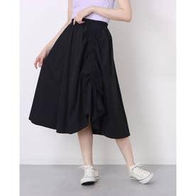 レディース スカートフレアスカート ロングスカート フレア 韓国 韓国ファッション 人気 春 夏 (ブラック)