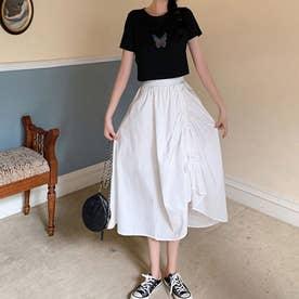 レディース スカートフレアスカート ロングスカート フレア 韓国 韓国ファッション 人気 春 夏 (ホワイト)