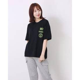 レディース トッブス 春 夏 SS Tシャツ ビッグT ゆったりロゴT ロゴ カジュアル ロゴT 韓国ファッション 韓国 ロンT 半袖 春 夏服 (ブラック)
