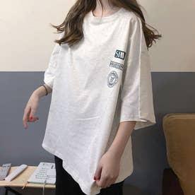 レディース トッブス 春 夏 SS Tシャツ ビッグT ゆったりロゴT ロゴ カジュアル ロゴT 韓国ファッション 韓国 ロンT 半袖 春 夏服 (グレー)
