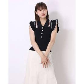 レディース トッブス 夏 SS ブラウス シャツ フリル フリルブラウス ホワイト 白 韓国ファッション 韓国 オフィスカジュアル (ブラック)