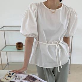 レディース トッブス 夏 SS ブラウス シャツ フリル フリルブラウス Vネック ホワイト 白 韓国ファッション 韓国 オフィスカジュアル (ホワイト)