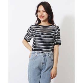 ニットソー半袖 vネックニットソー トップス サマーニット 薄く軽い Tシャツ (ブラック)