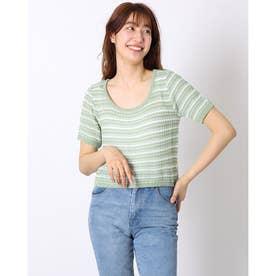 ニットソー半袖 vネックニットソー トップス サマーニット 薄く軽い Tシャツ (グリーン)