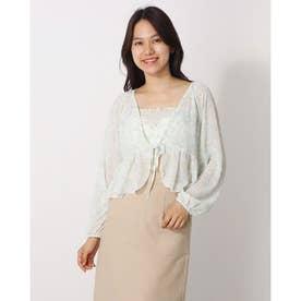 シフォン カーディガン キャミソール 韓国ファッション カジュアル (グリーン)