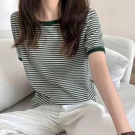 レディース トッブス 夏 夏 SS TシャツビッグT ゆったり ストライプ ジュアル メンズライク 韓国ファッション 韓国 ロンT 半袖 夏服 (グリーン)
