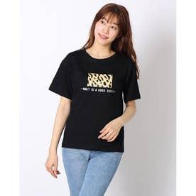 レディース トッブス 夏 夏 SS TシャツビッグT ゆったりロゴT ロゴ カジュアル メンズライク 韓国ファッション 韓国 ロンT 半袖 夏服 (ブラック)