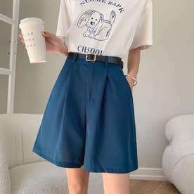 レディース パンツ ボトムス キュロット シフォン フェミニン ショートパンツ 韓国ファッション 韓国 夏服 夏 ショーパン (ブルー)