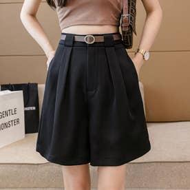 レディース パンツ ボトムス キュロット シフォン フェミニン ショートパンツ 韓国ファッション 韓国 夏服 夏 ショーパン (ブラック)