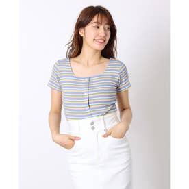 ニットソー半袖 vネックニットソー トップス サマーニット 薄く軽い Tシャツ 大人気 可愛い ニットソー (グレー)