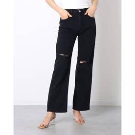 デニムパンツ レディース ストレートパンツ ハイウエスト デニムワイドパンツ カジュアル 韓国ファッション デニム ジーンズ ロング パンツ 体型カバージーパン (ブラック)