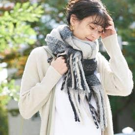 【9-22】リサイクルループヤーンチェックストール (グレー)