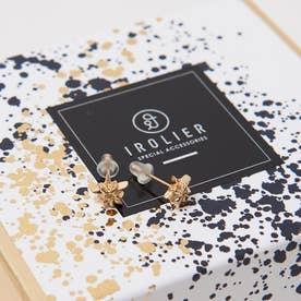 【IROLIER】SV925オリガミスターminiピアス (ゴールド)