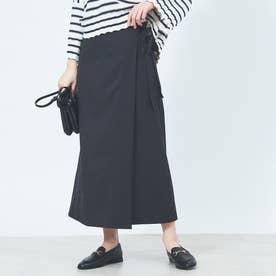 ラップセミフレアスカート (ブラック)