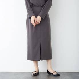 スエードタッチタイトスカート (チャコールグレー)