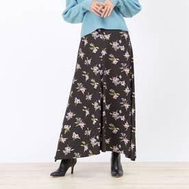 フラワープリントスカート (ブラック)