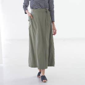 【Mylanka】ラップ風スカート (カーキ)