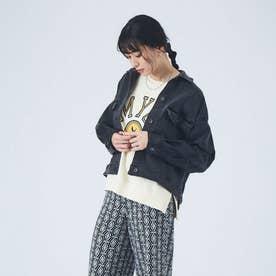 【Mylankaレザーコンビストレッチデニムジャケット (ブラック)